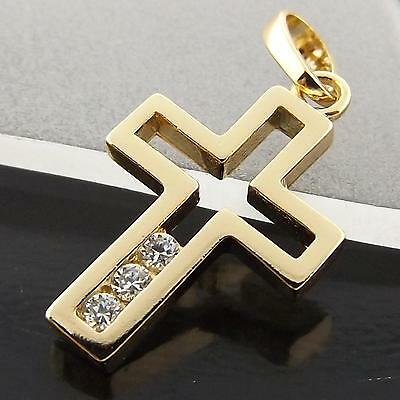Fsa039 Genuine 18Ct Yellow G/f Gold Diamond Simulated Crusifix Cross Pendant