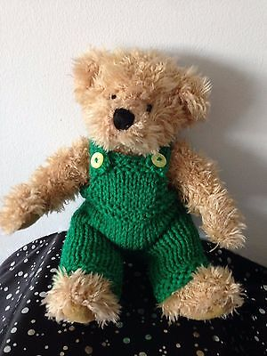 """""""TEDDY CLOTHES"""" hand knitted emerald dungarees for 8"""" bear."""