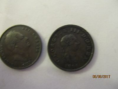 GB Halfpennies 1834(William 1V) & 1806 (George 111) both Fine  - see photos