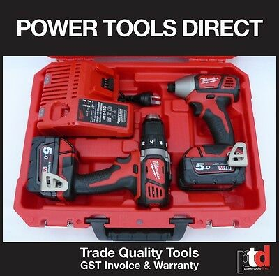 New Milwaukee 18V Cordless Drill Driver Impact Driver 5Amp Batteries & Charger
