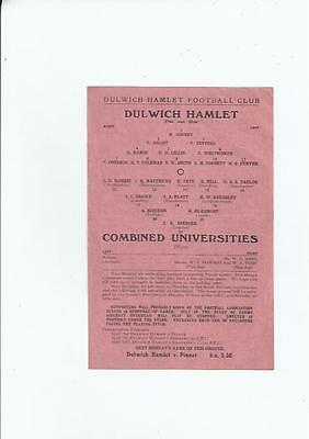 Dulwich Hamlet v Combined Universities Football Programme 1944/45  10th March