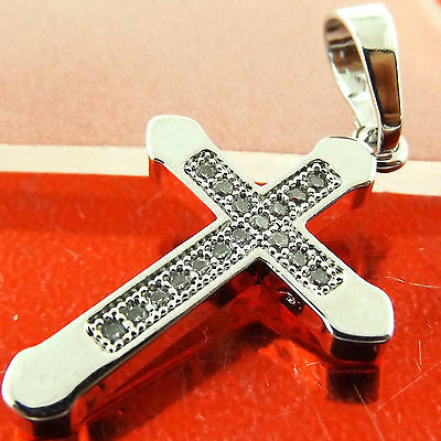 Fsa300 Genuine Real 18Ct White G/f Gold Diamond Simulated Crusifix Cross Pendant