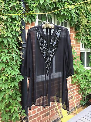 M&S Occasion Wear, Black Sheer Ladies Top, Size 20