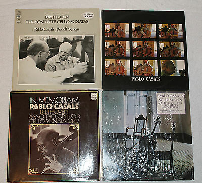 PABLO CASALS - LOT OF SEVEN CELLO VINYL LPs - BEETHOVEN SONATAS SCHUMANN.