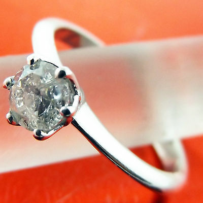 Fsad003 Genuine Real 18K White Gold Ladies Diamond Solitaire Engagement Ring
