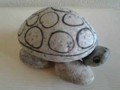 ROCK TURTLE FIGURINE Gray with Black Accents Signed Very Good Condition