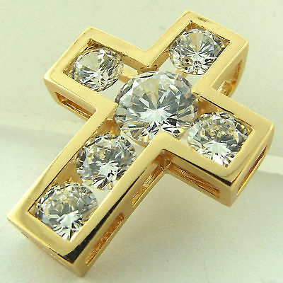 Fsa622 Genuine Real 18Ct Yellow G/f Gold Ladies Diamomd Simulated Cross Pendant