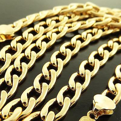 Fsa167 Genuine Real 18K Yellow Gold G/f Solid Mens Classic Curb Necklace Chain