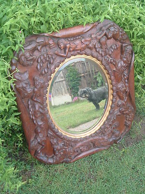 Antique ARTS & CRAFTS Carved MERMAIDS oak MIRROR dated 1903 HMS PEMBROKE,CHATHAM