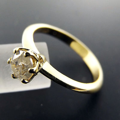 Fsad002 Genuine Real 18K Yellow Gold Ladies Diamond Solitaire Engagement Ring