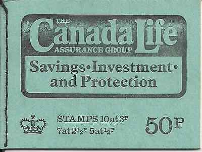 1973 Gb Qeii 50P Stitched Stamp Booklet Sg Dt 10 Canada Life Assurance April