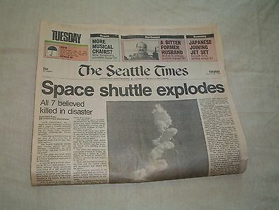 Challenger Space Shuttle Explosion--Seattle Times First Section 1/28/86