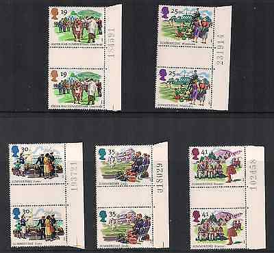 1994 Qeii Summertime Commemorative Stamp Gutter Pairs Sg 1834 1838 Nmnh