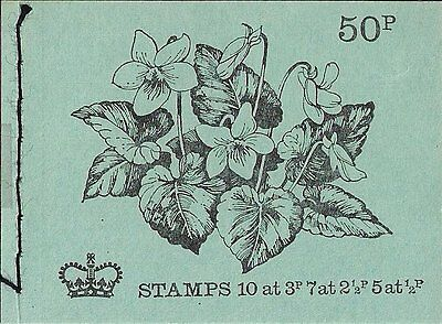 1972 Gb Qeii 50P Stitched Stamp Booklet Sg Dt 5 Common Violet February Issue