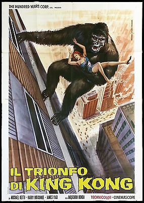 Il Trionfo Di King Kong Manifesto Cinema Fantasy 1974 Godzilla Movie Poster 4F