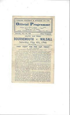 Bournemouth v Walsall South Cup Final Football Programme 1946 @ Chelsea