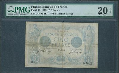 1915 FRANCE 5 FRANCS FROM BANQUE DeFRANCE PICK #70  PMG 30 PLEASE LQQK !!!!