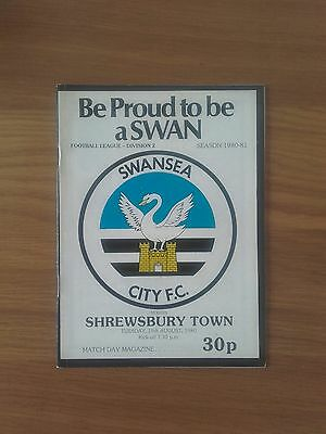 Swansea City V Shrewsbury Town 19Th August 1980 Division Two Swans Promoted