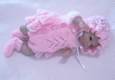 "Hand knitted dolls clothes /4 piece  frilled romper to fit 10/11"" Reborn doll"