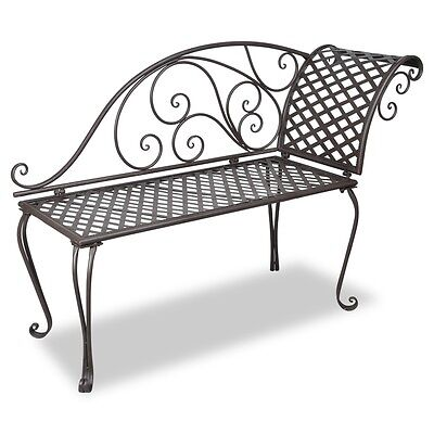 S# New Garden Metal Chaise Lounge Bench Steel Chair Outdoor Park Bed Seat Furnit