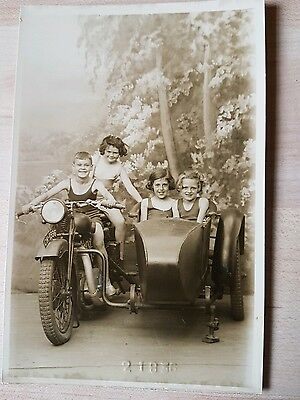 Vintage Real Photo Postcard. Children In Old Motor Cycle & Sidecar. Blackpool Md