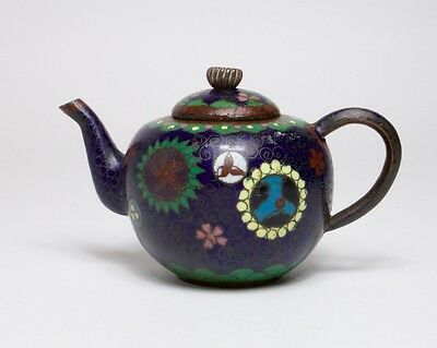 Antique Chinese small cloisonne blue ground teapot.
