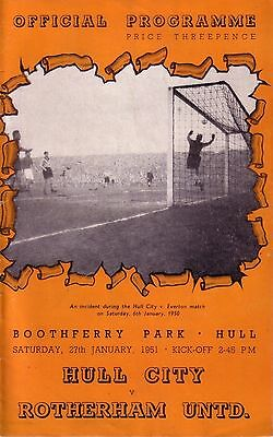 HULL CITY v ROTHERHAM 1950/51 FA CUP 4TH ROUND