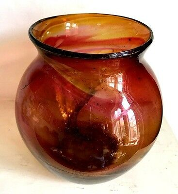EARLY 20s 30s HARTLEY WOOD GLASS RAINBOW GLASS VASE 6.25 INCHES CLUTHA ERA