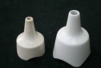 2 Vintage White Pottery Pie Funnels Different Sizes