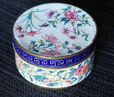 "Antique 18th century Chinese enamel caskett 2 1/2"" x 1 1/4"" beautiful lotus"
