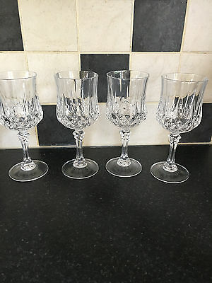 4 x CUT CRYSTAL RED / CLARET WINE GLASSES