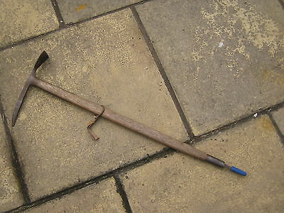 A Vintage Stubal Ice Pick Axe With Strapped Wooden Handle Made In Austria