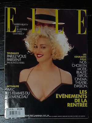MADONNA Elle France 1990 DICK TRACY Blond Ambition Promo Warren Beatty French