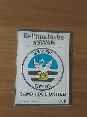 Swansea City V Cambridge United 30Th August 1980 Division Two Swans Promoted