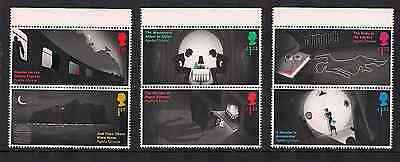 2016 Gb Qeii Agatha Christie Crime Commemorative Stamp Top Edge Gutter Pairs