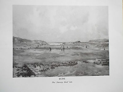 Golf Course Print BUDE B/W Facsimile Of Original Painting 1910 H Rountree