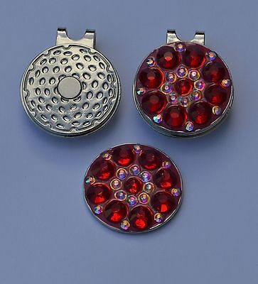 Ladies golf gift- Ladies Magnetic Hat Clip and  Red Crystal Golf Ball Marker