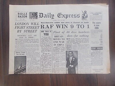 DAILY EXPRESS WWII NEWSPAPER JULY 15th 1940 BATTLE OF BRITAIN - DOUGLAS BADER