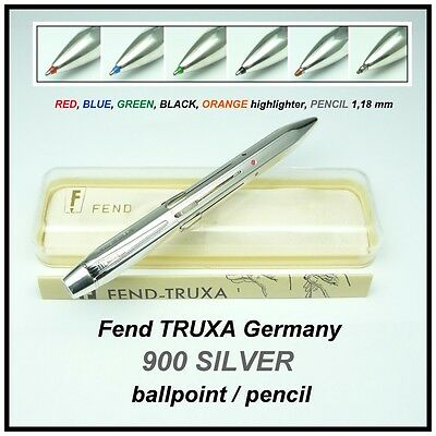 Fend TRUXA Pat. 900 SILVER, 6 color ballpoint / pencil,  new LAMY refills M 21