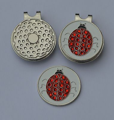 Ladies golf gift- Ladies Magnetic Hat Clip and  Ladybird Crystal Ball Marker