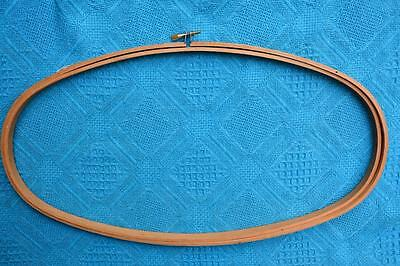 """RETRO Oval Wooden FRAME/HOOP Tapestry Embroidery Artwork Craft Items NEW 8"""" x15"""""""