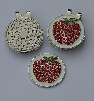 Ladies golf gift- Ladies Magnetic Hat Clip and  Strawberry Crystal Ball Marker