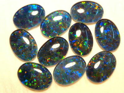 VERY UNUSUAL 7x5mm OVAL CABOCHON-CUT BLACK OPAL TRIPLET GEMSTONE £1 NR!