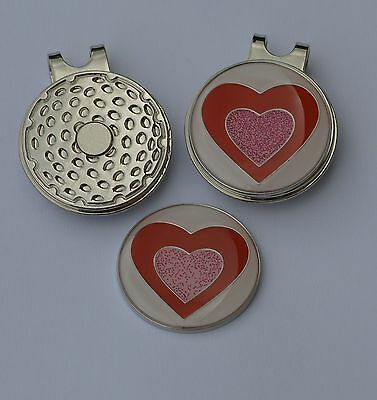 Ladies golf gift- Ladies Magnetic Hat Clip and  Love Heart Ball Marker
