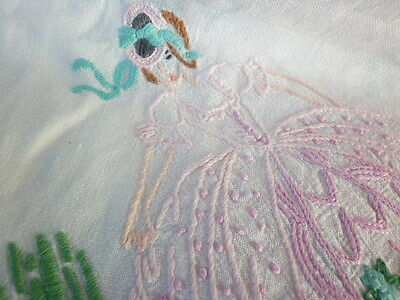 Vintage Embroidered Colourful Crinoline Ladies + Florals White Square Tablecloth