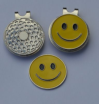 Ladies golf gift- Ladies Magnetic Hat Clip and  Yellow Smiley Ball Marker