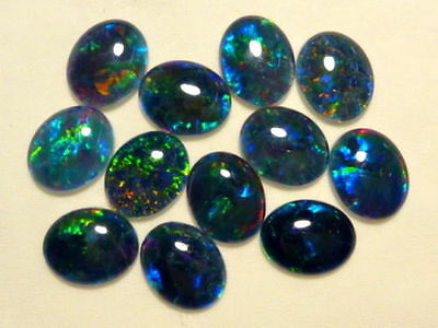 VERY UNUSUAL 6x4mm OVAL CABOCHON-CUT BLACK OPAL TRIPLET GEMSTONE £1 NR!