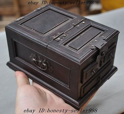 Rare Chinese Rosewood Wood Hand Craved Ancient jewelry Makeup box Jewelry boxes