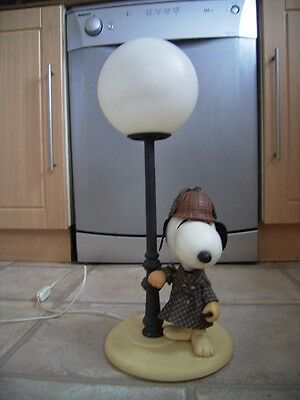 Snoopy dressed as Sherlock Holmes leaning on a lamp-post.