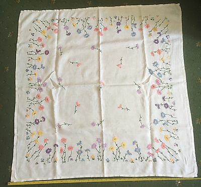 Beautiful Vintage Hand Embroidered Floral Flowers Linen Tablecloth